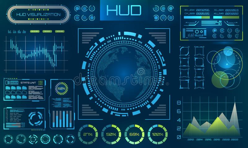 Futuristischer HUD-Hintergrund Infographic oder Technologieschnittstelle für Informationssichtbarmachung vektor abbildung
