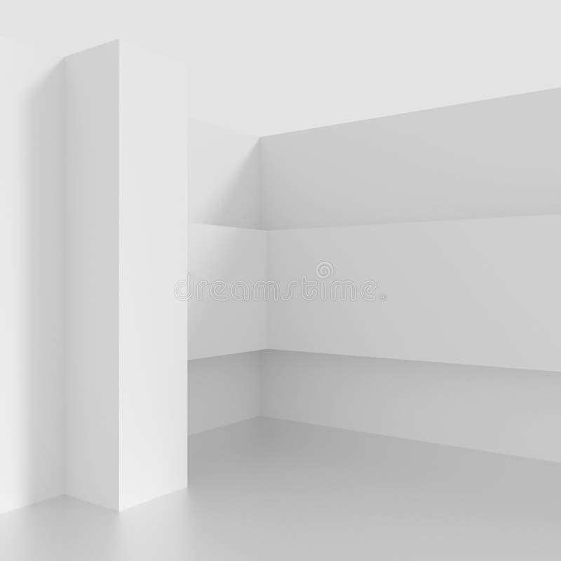 Futuristischer Innenhintergrund Weißes Abstraktes Wohnzimmer Konzept  Minimalistic Grafikdesign Wiedergabe 3d
