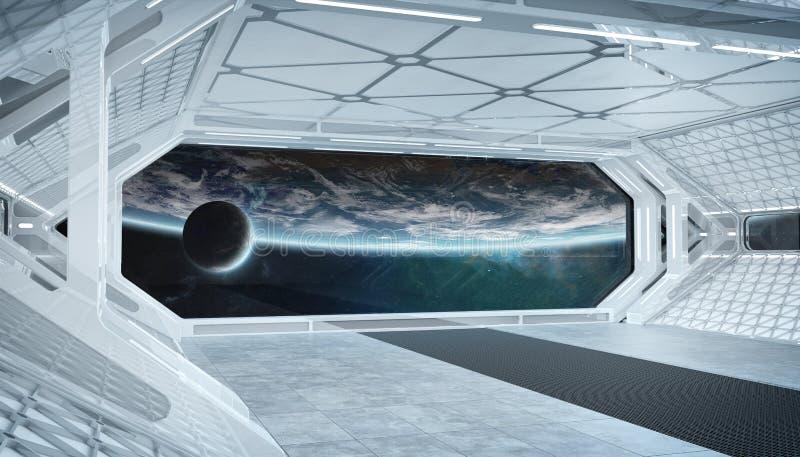 Futuristischer Innenraum des wei?en blauen Raumschiffes mit Fensteransicht ?ber Wiedergabe Planet Erde 3d stock abbildung