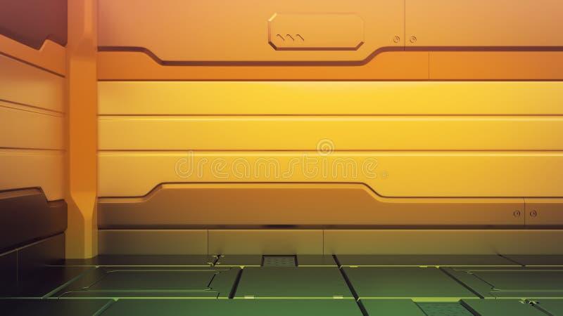 Futuristischer Innenraum mit leerem Stadium Moderner zukünftiger Hintergrund High-Teches Konzept der Technologie-Sciencefiction W lizenzfreie abbildung