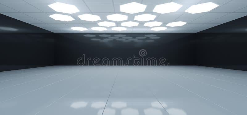 Futuristischer Innenschwarzweiss-Raum mit Hexagon geformtes Whi lizenzfreie abbildung