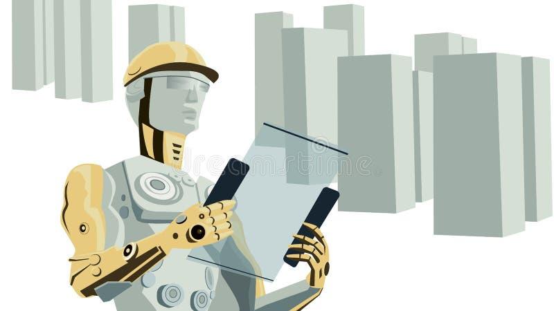 Futuristischer Konzept-Vektor des Roboter-Bauarbeiters mit Gebäuden vektor abbildung