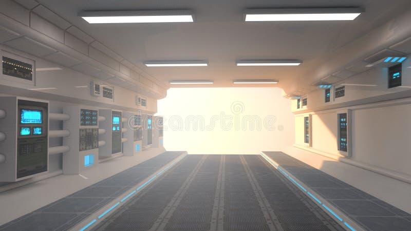 Futuristischer Korridorinnenraum und -sonnenuntergang stock abbildung