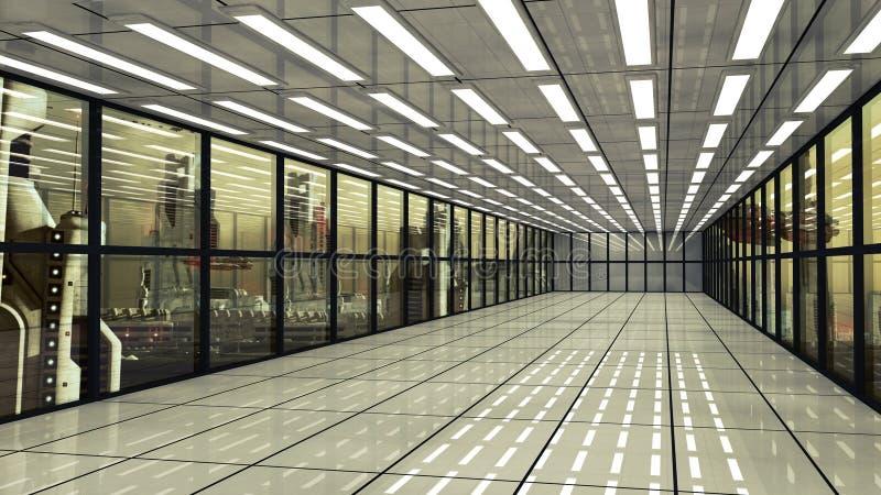 Futuristischer Korridorinnenraum und -stadt vektor abbildung