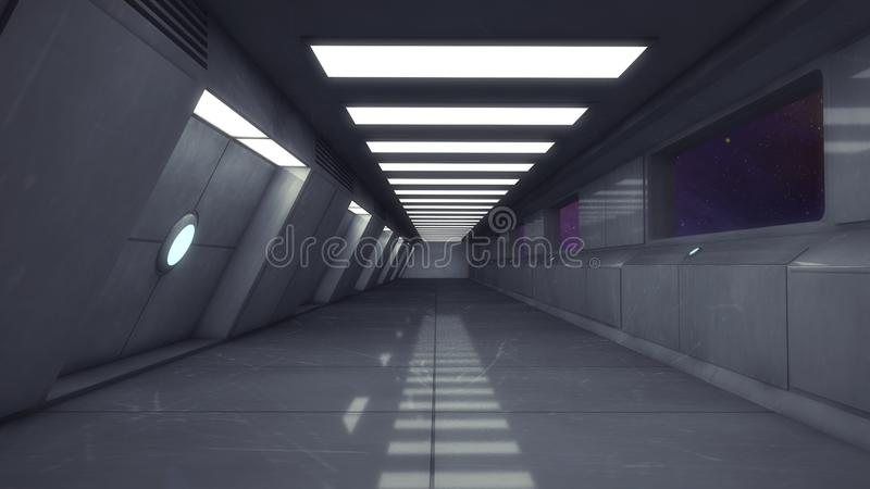 Futuristischer leerer Innenkorridor stock abbildung