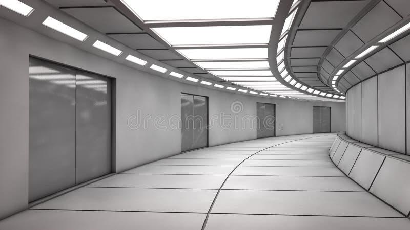 Futuristischer leerer Innenkorridor lizenzfreie abbildung