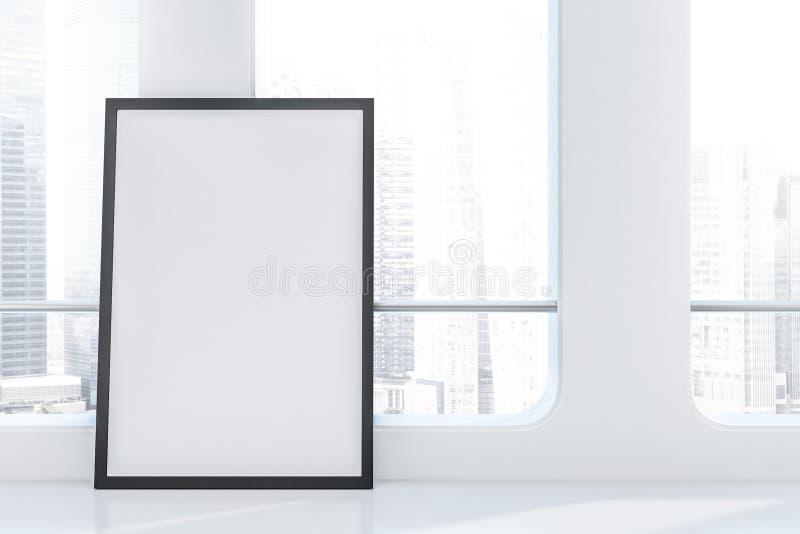 Futuristischer leerer Reinraum, Dachbodenfenster, Plakat lizenzfreie abbildung