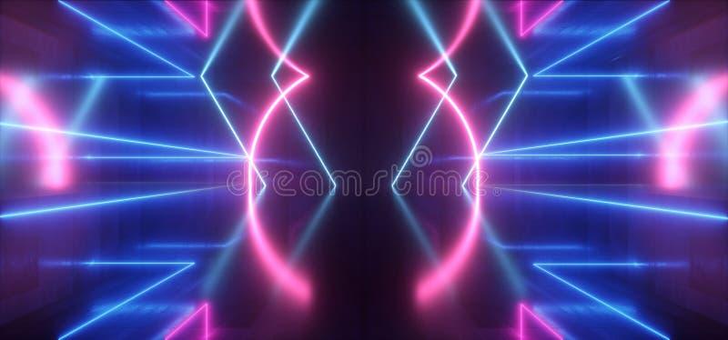 Futuristischer Licht-purpurroter blauer Stadiums-Nachtklub-Bau-leerer Hintergrund-Schmutz-konkreter reflektierender Neontunnel Sc vektor abbildung