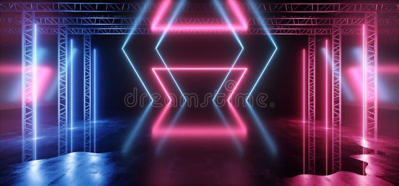 Futuristischer Licht-purpurroter blauer Stadiums-Nachtklub-Bau-leerer Hintergrund-Schmutz-konkreter reflektierender Neontunnel Sc stock abbildung