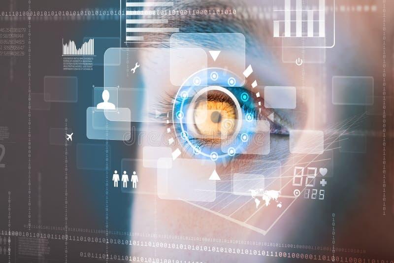 Futuristischer moderner Cybermann mit Technologieschirm-Augenplatte lizenzfreie abbildung