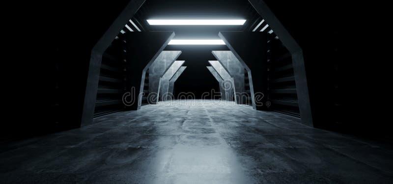 Futuristischer moderner Hallen-Korridor-Tunnel-Lager-Untertagegaragen-Schmutz-dunkles leeres Reflexions-Schaukasten-Stadium Sci F vektor abbildung