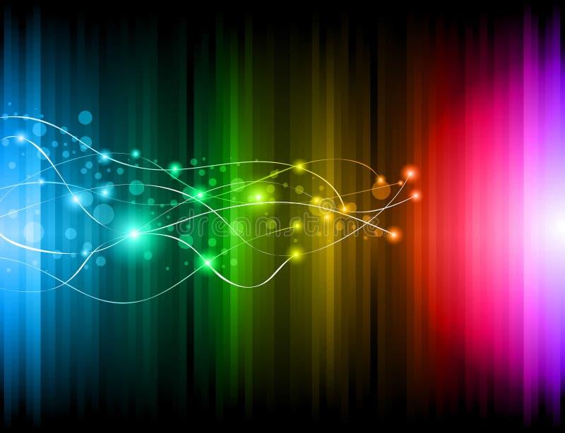 Futuristischer Regenbogen beleuchtet Hintergrund für Plakat stock abbildung