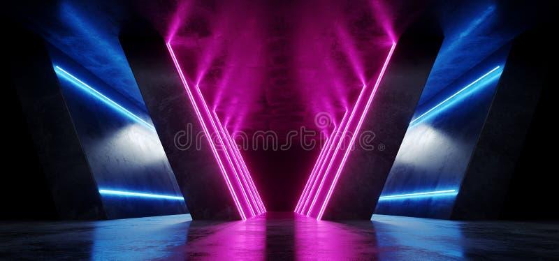Futuristischer Retro- Neonmoderner dunkler Schmutz-reflektierender konkreter leerer Raum-Podium-Hintergrund Tanzbühne-Show-Mode-A vektor abbildung