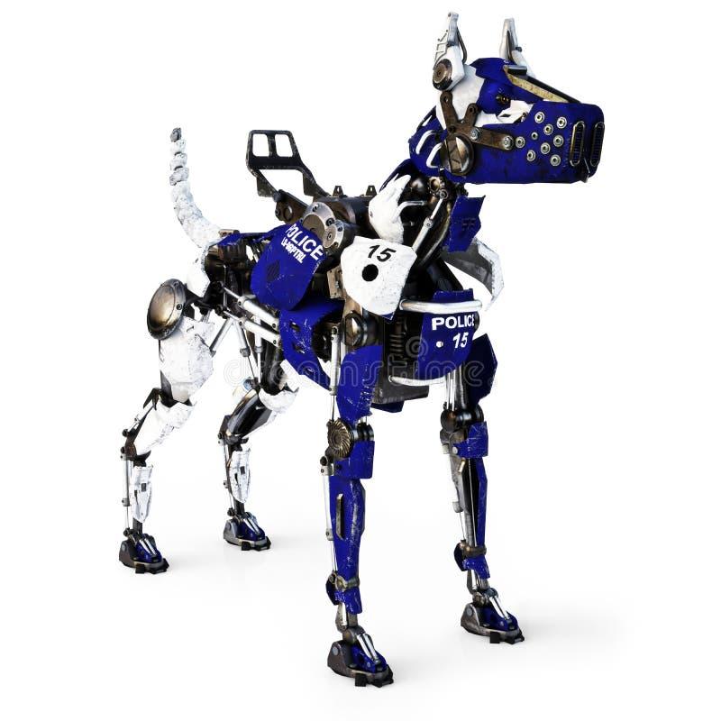 Futuristischer Roboter mechanischer Cyborg-Polizeihund auf einem weißen Hintergrund Wiedergabe 3d lizenzfreie abbildung