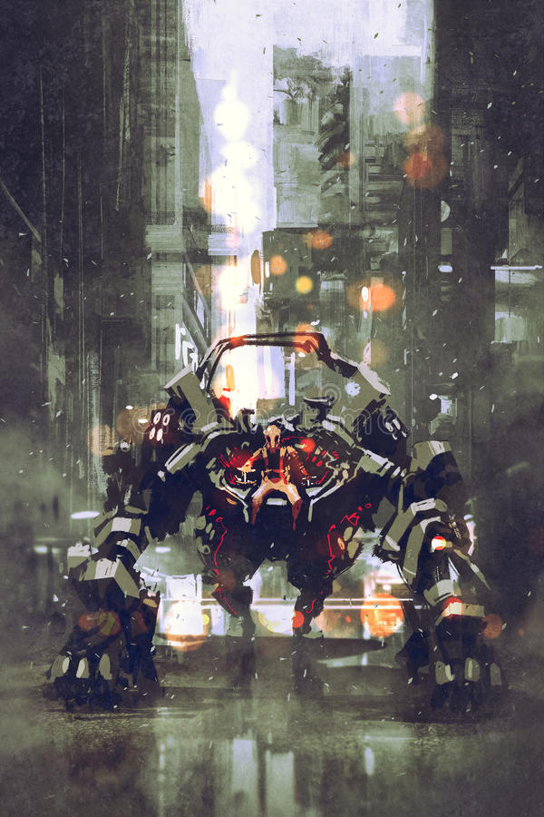 Futuristischer Roboter mit den großen Waffen gesteuert vom Menschen vektor abbildung