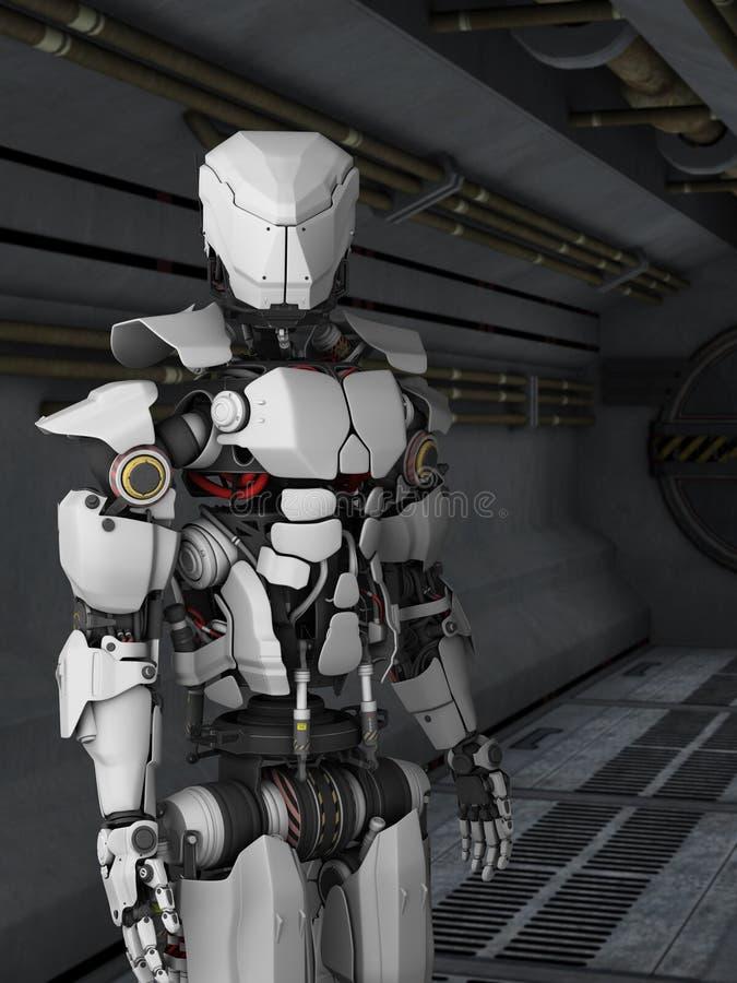 Futuristischer Roboter in sci FI-Korridor. stock abbildung