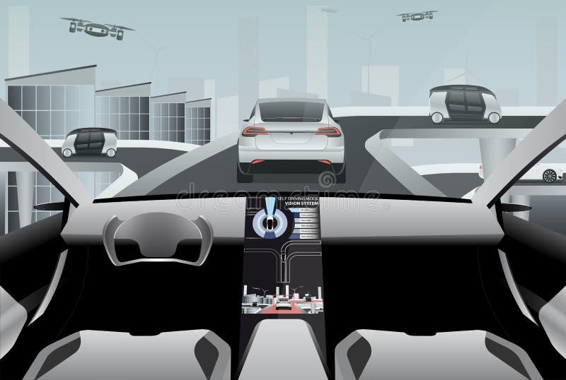 Futuristischer Selbst, der Auto auf einer High-Techen Straße fährt stock abbildung