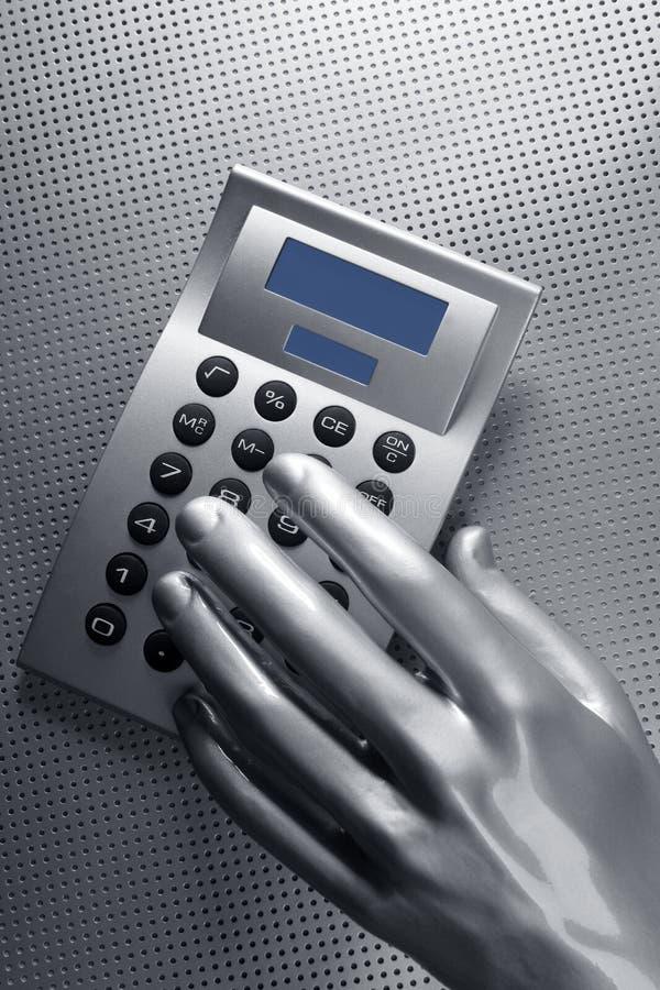 Futuristischer silberner Rechner des Geschäfts Hand lizenzfreies stockbild