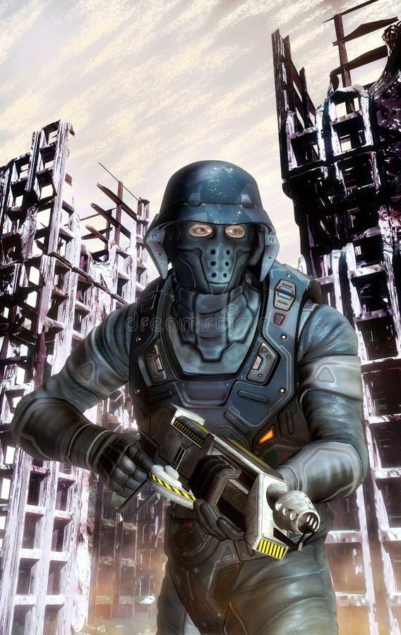 Futuristischer Soldat in der Tätigkeit am Krieg stock abbildung