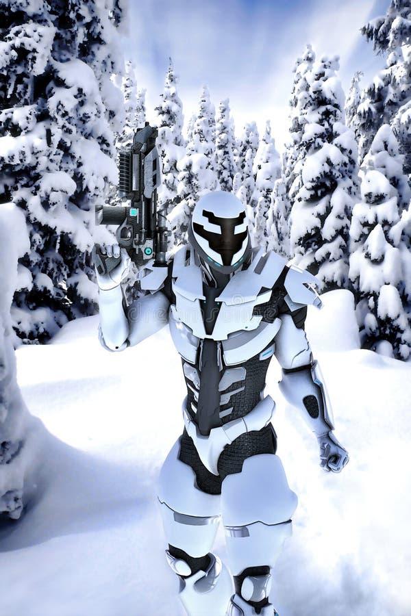 Futuristischer Soldat in einem Holz mit Schnee stock abbildung