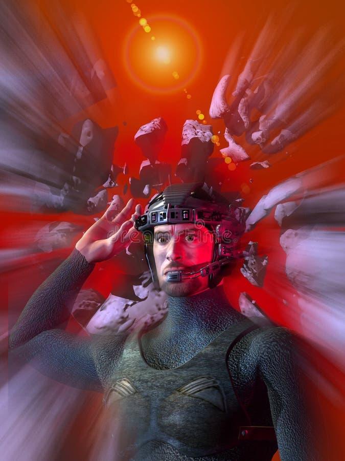Futuristischer Soldat mit Sturzhelm stock abbildung