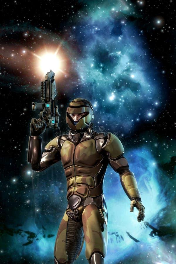 Futuristischer Soldat und starfield mit Nebelfleck und Sonne lizenzfreie abbildung