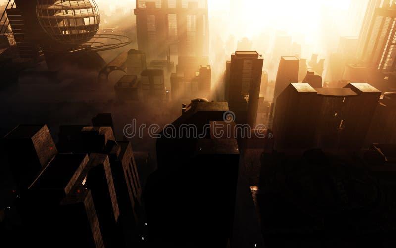Futuristischer Stadt-Sonnenuntergang lizenzfreie abbildung