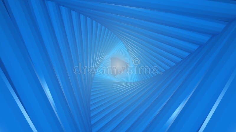 Futuristischer Tunnel, welche aus verdrehten Dreiecken besteht Am Ende des Blitzes stock abbildung