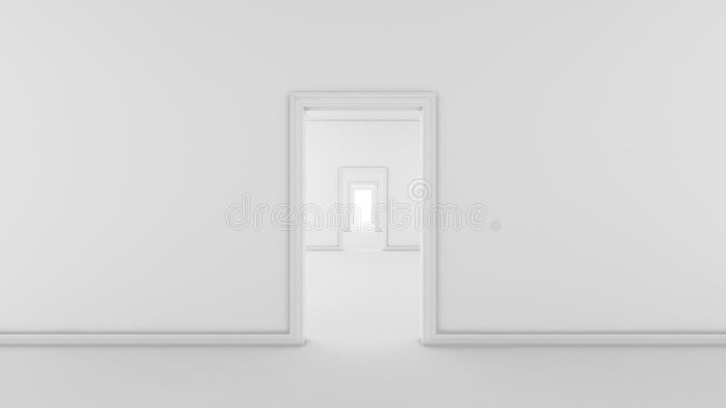 Futuristischer weißer leerer Raum mit Türen und Korridor, 3d übertragen stock abbildung