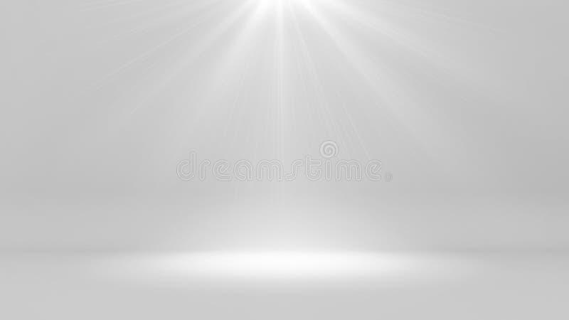 Futuristischer weißer leerer Raum und das helle Glänzen, 3d übertragen vektor abbildung