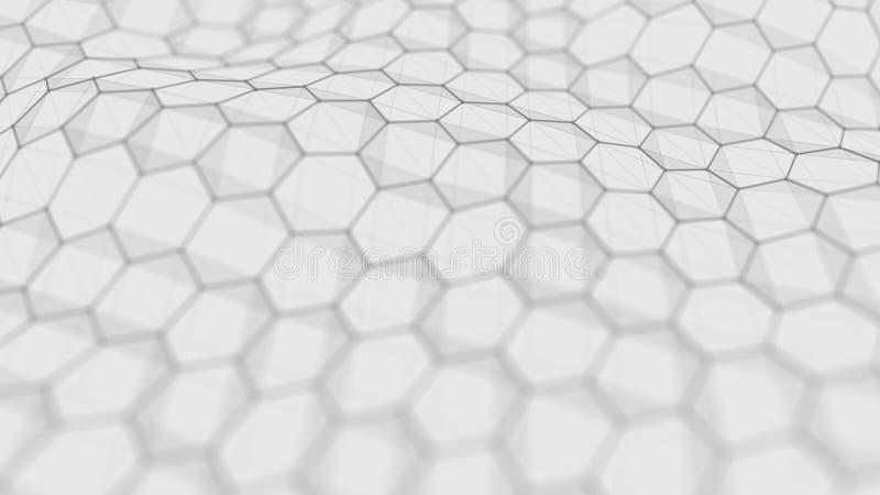 Futuristischer wei?er Hexagonhintergrund Futuristisches Bienenwabenkonzept Welle von Partikeln Wiedergabe 3d lizenzfreie abbildung