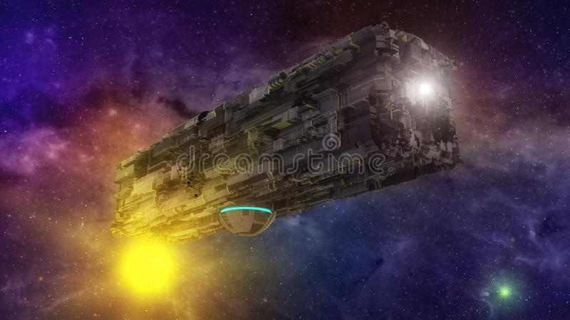 Futuristisches ausländisches Raumschiff und Himmel lizenzfreie abbildung
