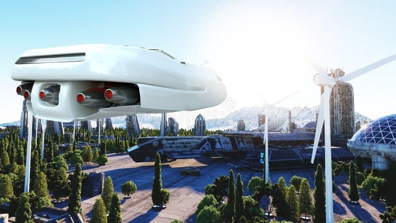 Futuristisches Auto, das über die Stadt, Stadt fliegt Transport der Zukunft Schattenbild des kauernden Geschäftsmannes Wiedergabe stock abbildung