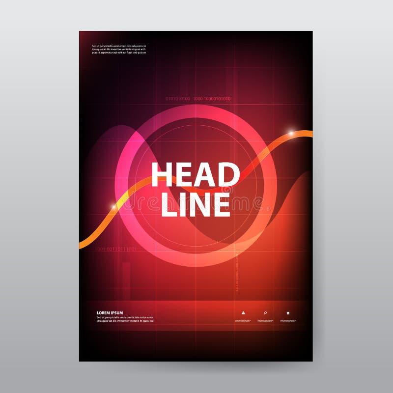 Futuristisches Broschürenplakat des abstrakten Kreises, Fliegerjahresberichtschablone in der Größe a4, ui Designmähdrescher mit P lizenzfreie abbildung