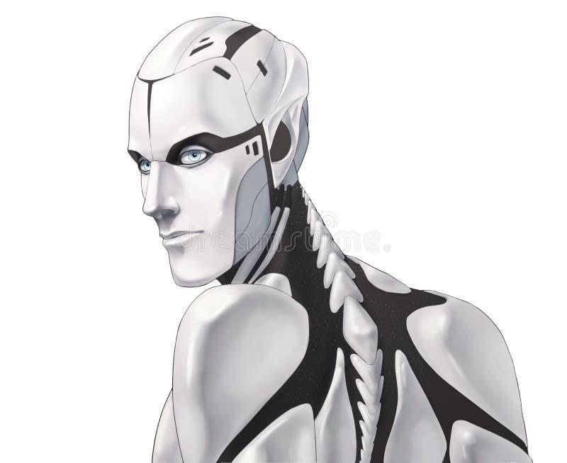 Futuristisches Cyborgillustrationsporträt lokalisiert auf weißem Hintergrund lizenzfreies stockfoto