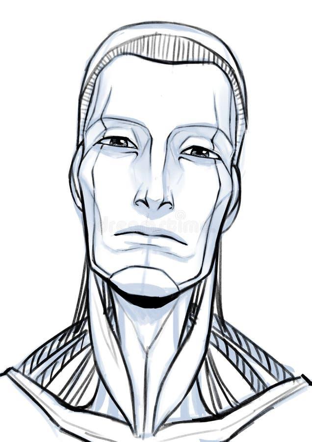Futuristisches Cyborgillustrationsporträt lokalisiert am weißen Hintergrund stockbild