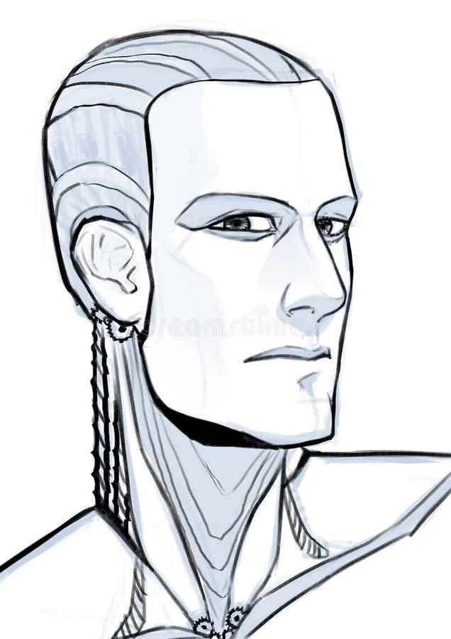 Futuristisches Cyborgillustrationsporträt lokalisiert am weißen Hintergrund lizenzfreie stockfotos