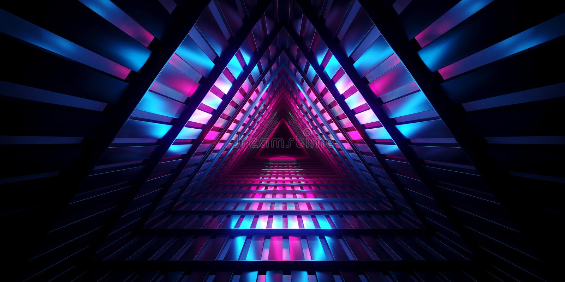 Futuristisches dunkles leeres Dreieck-Innenmetall Mesh Corrid Sci FI stock abbildung