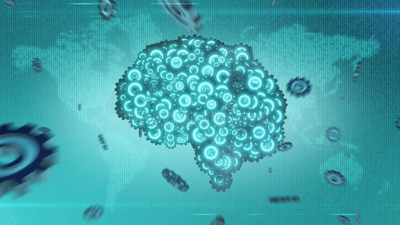 Futuristisches Gehirn steampunk Konzept, das von den Gangrädern sich bildet lizenzfreies stockfoto