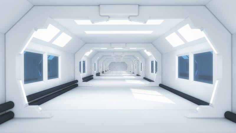 Futuristisches Hallenausländerraumschiff stock abbildung