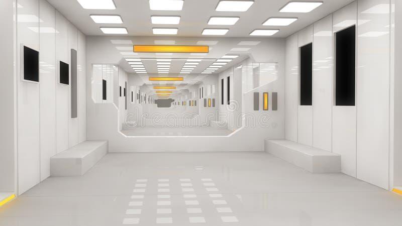 Futuristisches Hallenausländerraumschiff vektor abbildung