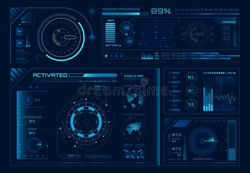 Futuristisches Hologramm ui Wissenschaft hud Schnittstellen, Diagrammschnittstellenrahmen und Technologieregler oder Knopfgestalt lizenzfreie abbildung
