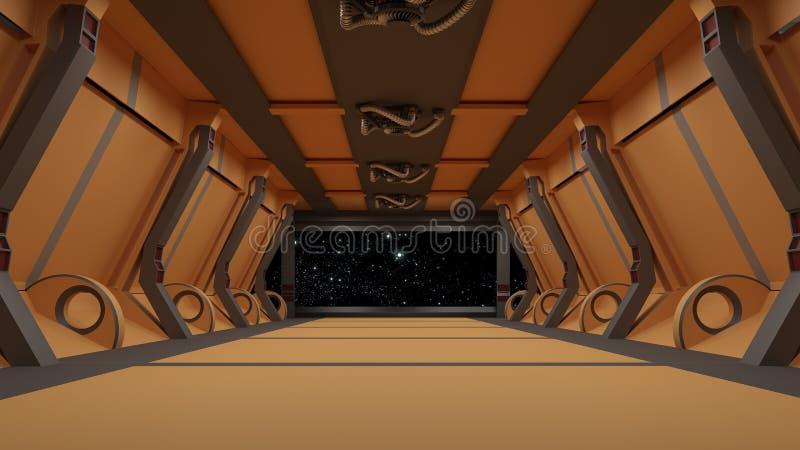 Futuristisches Innenkorridorstadium Wiedergabe 3d stock abbildung