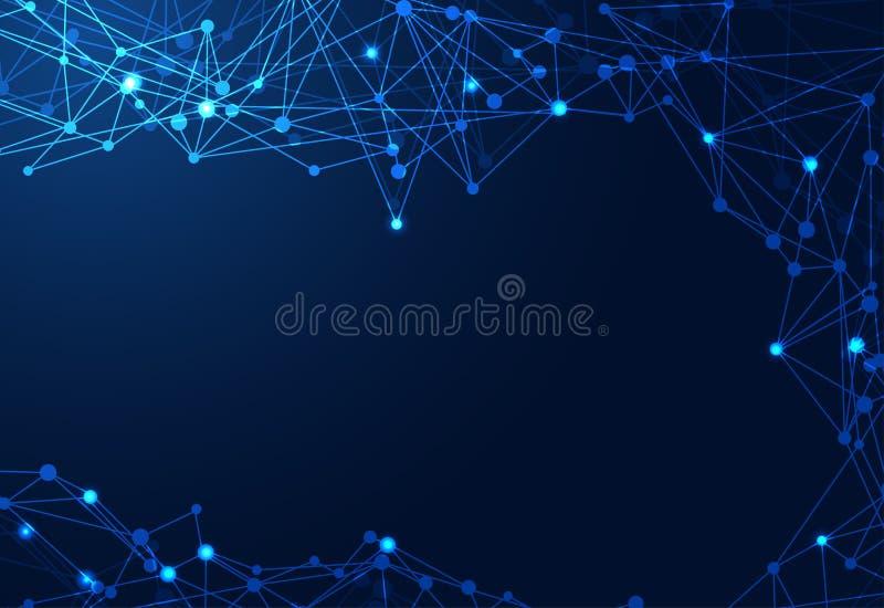 Futuristisches Konzept der abstrakten Technologie linear, polygonales dunkles Blaues stock abbildung