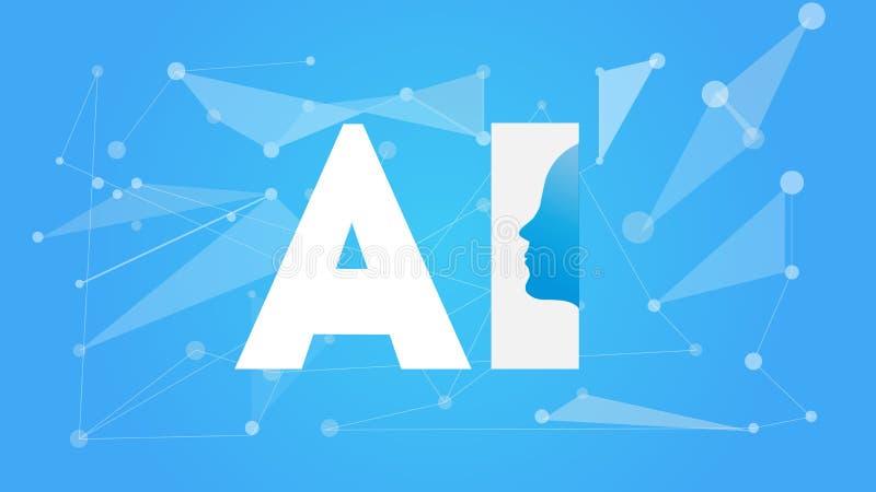 Futuristisches Konzept künstliche Intelligenz AI Menschliche große Daten Sichtbarmachung mit Cyber-Verstand Maschinen-tiefes Lern vektor abbildung