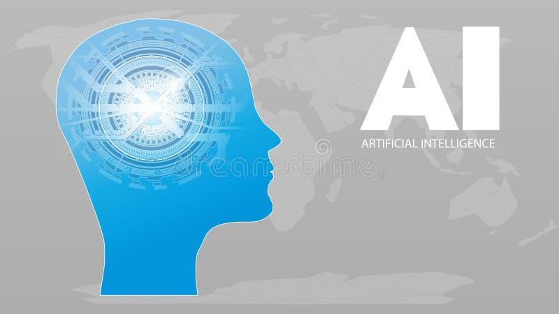 Futuristisches Konzept künstliche Intelligenz AI Menschliche große Daten Sichtbarmachung mit Cyber-Verstand Maschinen-tiefes Lern stock abbildung