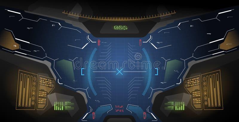 Futuristisches Konzept ui für Sturzhelm Head-up-display-Schablone Ansicht vom Sturzhelm mit HUD-Elementen stock abbildung