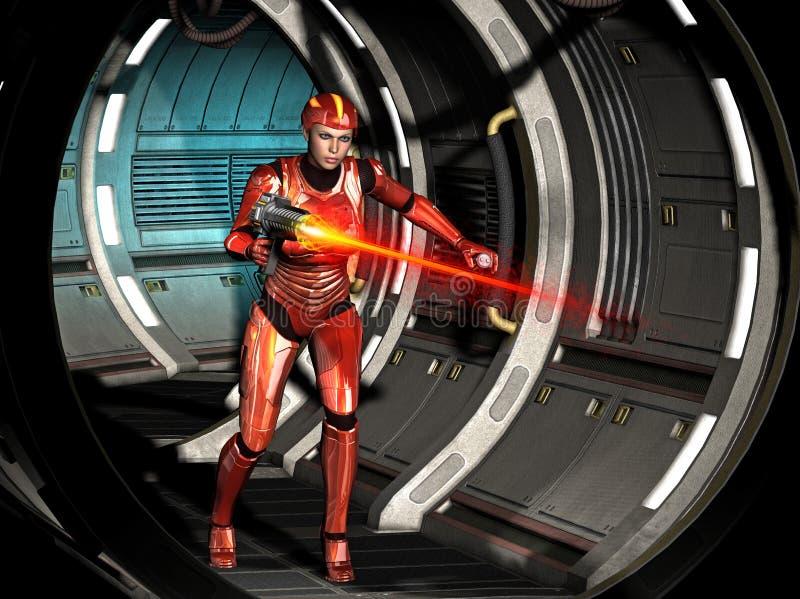 futuristisches Kriegersmädchen, schießend mit schwerer Waffe innerhalb des Raumschiffes, Illustration 3d stock abbildung