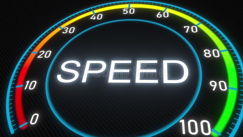 Futuristisches Meter oder Indikator der Geschwindigkeit Begriffswiedergabe 3d vektor abbildung