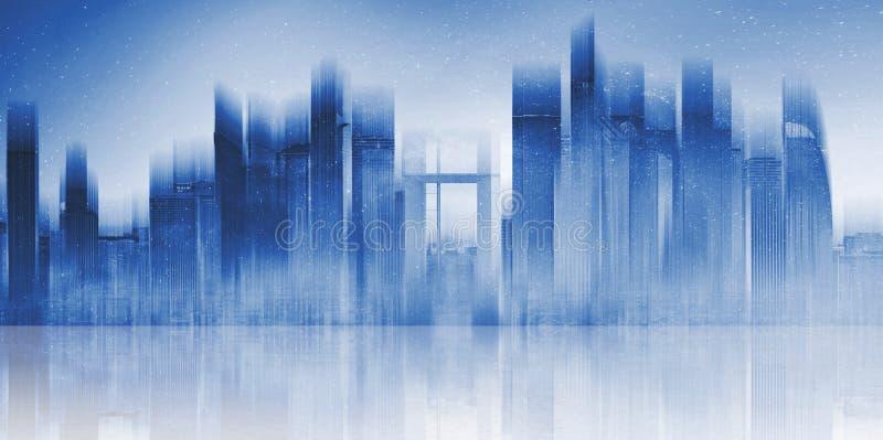 Futuristisches modernes Gebäude in der Stadt mit Reflexion auf konkretem Boden Abstrakter Stadthintergrund lizenzfreies stockfoto